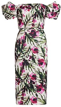 Floral Off-The-Shoulder Puff-Sleeve Sheath Dress - Light Ivory Raspberry - Size 8