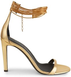 Kay Ankle-Cuff Metallic Leather Sandals - Gold - Size 11