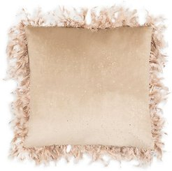 Rica Stone Foiled Animal-Print Down Pillow - Beige