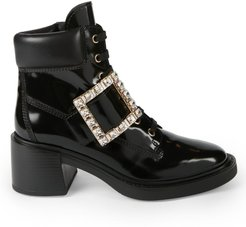 Viv Rangers Strass Patent Leather Hiking Boots - Black - Size 10.5