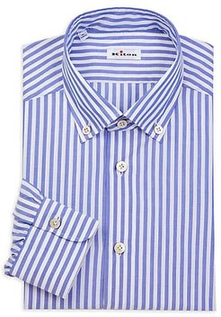 Contemporary-Fit Bengal Stripe Dress Shirt - Blue White - Size 39 (15.5)