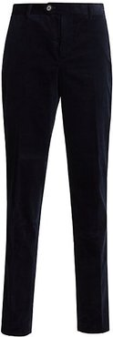 Corduroy Flat-Front Trousers - Navy - Size 52 (34)