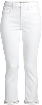 Rhinestone Cropped Straight Jeans - White - Size 4