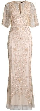 Cape Embellished Gown - Champagne - Size 0