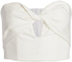 Arianna Keyhole Strapless Cropped Top - White - Size 12