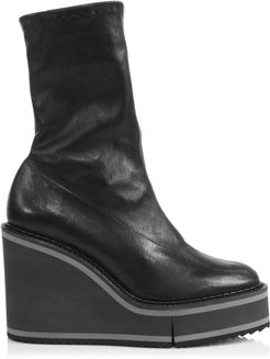 Bliss 4 Leather Platform Wedge Sock Boots - Black - Size 9.5