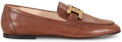 Almond-Toe Leather Loafers - Light Brown - Size 6.5