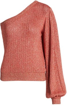 Metallic One-Shoulder Sweater - Pink - Size Large