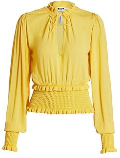 Smocked Waist Ruffle Blouse - Yellow - Size Small