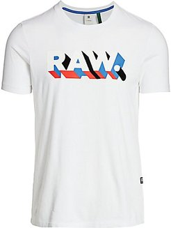 3D Raw Graphic T-Shirt - White - Size XL
