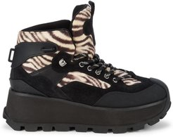 Sonic Leopard-Print Mixed-Media Hiking Boots - Black - Size 7