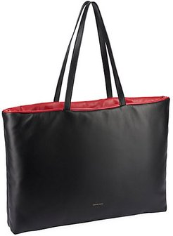 Pillow Reversible Leather Tote - Black Flame