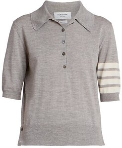 Relaxed 4 Bar Merino Wool Polo Top - Light Grey - Size 40 (4)