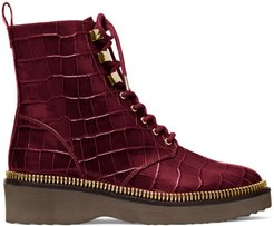 Haskell Croc-Embossed Leather Combat Boots - Dark Berry - Size 5