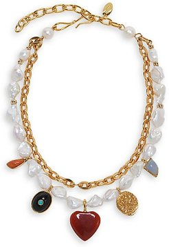 Tarot Garden 18K Goldplated, 12-16MM Pearl & Mixed-Stone 2-Strand Necklace - Gold