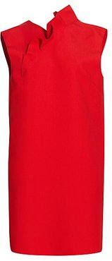 Ruffle Trim Crepe Shift Dress - Red - Size 48 (14)