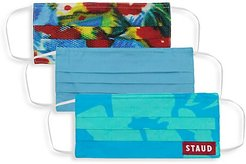 3-Piece Face Mask Set - Angel Falls Blue Abstract Floral Blue Hibiscus