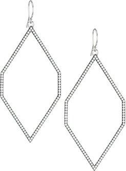 Edgy Black Ruthenium-Plated, Sterling Silver & Cubic Zirconia Extra-Large Geometric Hoop Earrings - Silver