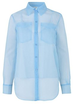Minty Semi-Sheer Button-Down - Grape Mist Blue - Size 42 (12)