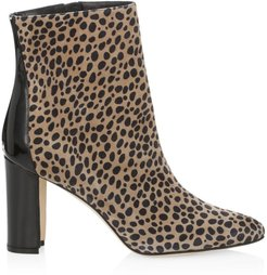 Rosie Animal-Print Suede & Patent Leather Ankle Boots - Leopard - Size 8.5