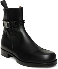 Low Buckle Leather Ankle Boots - Black - Size 7