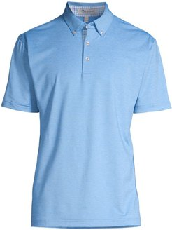 Solid Mélange Performance Jersey Polo - Blue Sea - Size Small