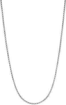 Classic Chain Sterling Silver Box Chain Necklace - Silver - Size 22