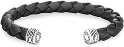 Classic Chain Sterling Silver & Leather Cuff Bracelet - Silver - Size Medium