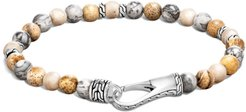 Classic Chain Sterling Silver Beaded Hook Clasp Bracelet - Silver - Size Medium