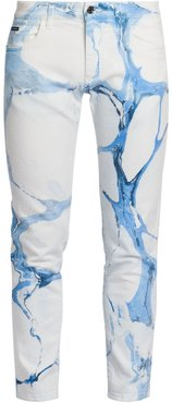 Bleached Print Logo Patch Jeans - White - Size 40