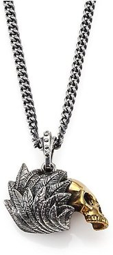 Alloy Skull with Silver Raven Wing Pendant Necklace - Silver/Gold