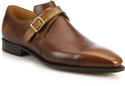 Arca Buckle Pullman French Leather Dress Shoes - Medium Brown - Size 11
