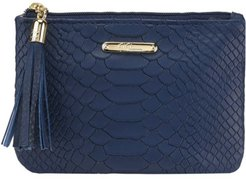 Leather Zip Pouch - Navy