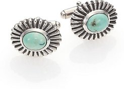 Turquoise Concho Cuff Links - Silver Turquoise