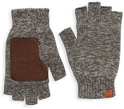 Leather Patch Wool Fingerless Gloves - Grey