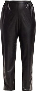 Faux Leather Skinny Pants - Black - Size 2X (18-20)