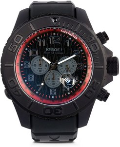 Kyboe! Men's Chronograph Stainless Steel Silicone Strap Watch - Black