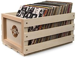 Record Storage Wooden Crate - Natural