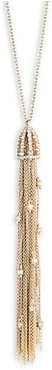 10K Yellow Goldplated Cascading Crystal Tassel Pendant Necklace - Gold
