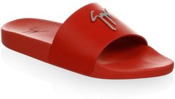 Leather Pool Slides - Red - Size 11 Sandals