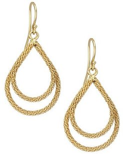 18K Yellow Gold Wrapped Chain Drop Earrings - Gold