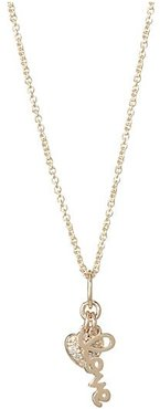 Diamond and 14K Gold Lover Heart Duo Pendant Necklace - Yellow Gold
