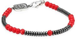 American Voices Glass Bead Bracelet - Silver Red