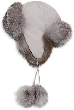COLLECTION Fox Fur-Lined Pom Pom Trapper Hat - Grey