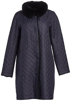 Rabbit Fur-Lined Quilted Coat - Navy Black - Size XS