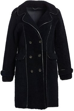 Shearling Double-Breasted Coat - Navy - Size XS