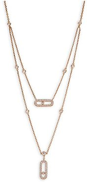 Move Classic 18K Rose Gold & Diamond Pavé Two-Row Pendant Necklace - Rose Gold