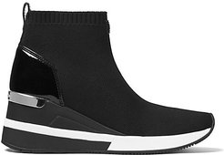 Skyler Soft Knit High-Top Wedge Sneakers - Black - Size 6