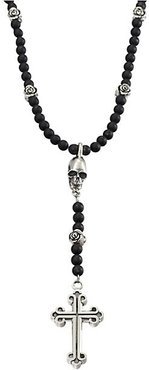 Onyx Beaded Rosary Necklace - Black Silver