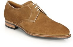 Sergio Pullman Calf Suede Piped Derby Shoes - Castor Tan - Size 9.5
